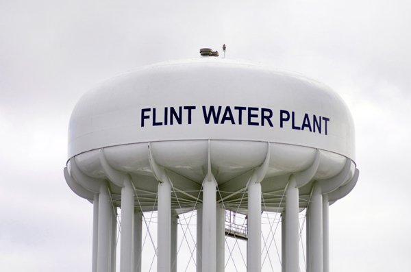 Flint, Michigan, USA - January 23, 2016: Flint Water Plant Tank which holds drinking water for the city of Flint, Michigan.