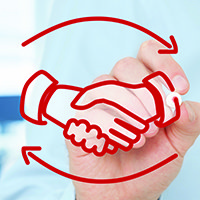 employee and employer shaking hands square